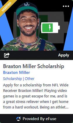 efuse braxton miller scholarship